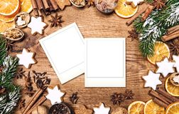 Christmas food background Vintage style handmade photo frames. Christmas food background. Vintage style picture with handmade photo frames for your images royalty free stock images