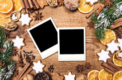 Christmas food background. Vintage style photo frames. Christmas food background. Vintage style picture with photo frames for your images royalty free stock photos