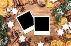 Christmas food background. Vintage style photo frames royalty free stock photos