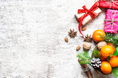 Christmas Food Background With Gift Boxes Royalty Free Stock Image