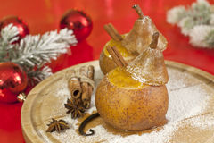 Christmas food baked pears with jam Royalty Free Stock Photography