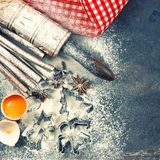 Christmas food. Baking ingredients, spices and tolls. Vintage st Royalty Free Stock Photography