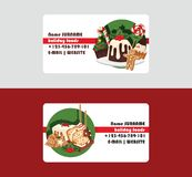 Christmas food chef business card and desserts holiday decoration xmas sweet celebration traditional festive winter cake. Homemade dish stock illustration