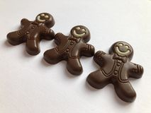 Christmas food, Chocolate gingerbread men royalty free stock photos