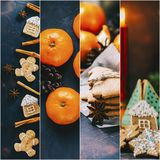 Christmas Food Collage. Christmas collage with chocolate cookies, nuts and spices Royalty Free Stock Image