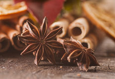 Christmas food components. On the wooden table - closeup stock photo