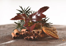 Christmas food components. On the wooden table - closeup royalty free stock images