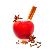Christmas food decor - red apple Royalty Free Stock Photo