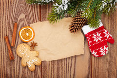 Christmas food and decor with snow fir tree background Royalty Free Stock Photos