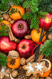 Christmas food decoration. Fruits nuts spices cookies royalty free stock images
