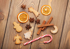 Christmas food decoration with gingerbread cookies, spices and c Stock Image