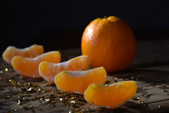 Christmas Food Decoration, Orange Fruit Slices, Golden Glitter Royalty Free Stock Photography