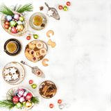 Christmas food decoration cookies coffee Flat lay. Christmas food and decoration. Traditional german cookies and coffee. Flat lay Stock Images