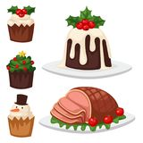 Christmas food and desserts holiday decoration xmas sweet celebration. Christmas food and desserts holiday decoration xmas sweet celebration vector traditional Royalty Free Stock Photography