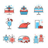 Christmas food and drinks collection. Flat style thin line art color icons set isolated on white background Royalty Free Stock Image