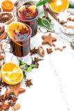 Christmas food drinks. Mulled wine ingredients Royalty Free Stock Photo