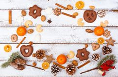 Christmas food flat lay with copy space on white table royalty free stock photo