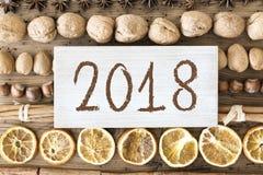 Christmas Food Flat Lay, Text 2018 Stock Photo