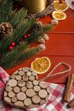 Christmas food frame on red wooden Stock Photography