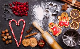 Christmas food. Gingerbread cookies with ingredients for christmas baking stock photos