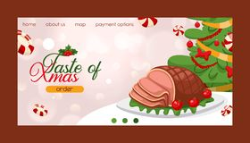 Christmas food for holiday decoration xmas sweet celebration traditional festive family table winter meat homemade dish. Seasonal decorative meal dinner royalty free illustration