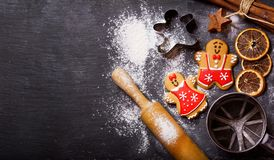 Christmas food. Gingerbread cookies with ingredients for christmas baking stock photography