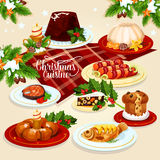 Christmas food icon with meat, fish, pastry dishes. Christmas festive dishes menu icon of xmas pudding, sweet Christmas wreath, stuffed fish, salted salmon royalty free illustration