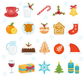 Christmas food icons set. Set of traditional christmas food and desserts food for Santa. Set of festive food and decorations for. Christmas table. Holiday stock illustration