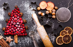 Christmas food. Ingredients for cooking Christmas baking, top vi. Christmas food. Ingredients for cooking Christmas baking: fir tree made from frozen cranberries stock photos
