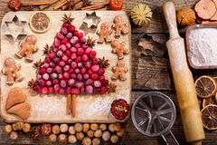 Christmas food. Ingredients for cooking Christmas baking, top vi. Christmas food. Ingredients for cooking Christmas baking: fir tree made from frozen cranberries royalty free stock photo
