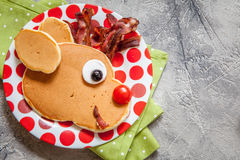 Christmas food for kid. Rudolph reindeer pancake. Christmas fun food for kids. Rudolph reindeer pancake for breakfast royalty free stock photography
