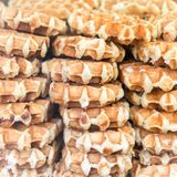 Christmas Food Market with lots of Belgium Wafles. Near Town Hall on Albert Square in Manchester, UK stock photo