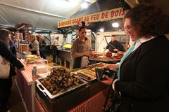 Christmas food market in Paris. Meat shop Royalty Free Stock Photo