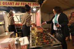 Christmas food market in Paris. Meat shop Royalty Free Stock Photography