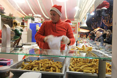 Christmas food market in Paris Stock Photography