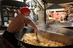 Christmas food market in Paris. Potato with cream Stock Photo