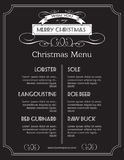 Christmas food menu on chalk Board. Christmas. Holidays menu or poster design for the restaurants. Vector illustration Royalty Free Stock Image