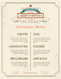Christmas food menu retro typography and ornament. Decoration. Christmas holidays menu or poster design for the restaurants . Vector illustration Royalty Free Stock Photos