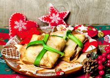 Christmas food pancakes Royalty Free Stock Images