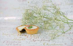 Christmas food photography of white green flowers with glitter and mince pies on xmas wrapping paper background Stock Image