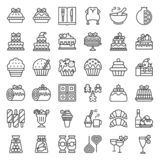 christmas food related icon set such as bakery,wine,biscuit,layered cake decorated with holly, editable stroke vector illustration