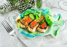 Christmas food - roasted fish Stock Photography
