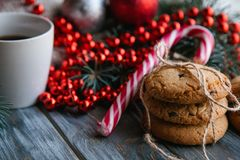 Christmas food snack cookies tea red bead string Stock Images