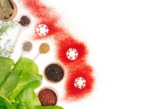 Christmas food - spices, fresh greens and red snowflakes isolated on white background, top view. royalty free stock image