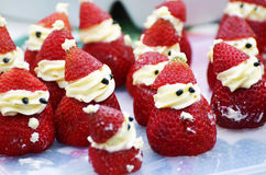 Christmas food strawberry Santa Claus sweet treats Royalty Free Stock Photography