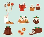 Christmas food vector desserts holiday decoration xmas. Family diner sweet celebration meal illustration. Traditional festive winter cake homemade x-mas party Royalty Free Stock Images