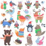 Christmas Forest Animals Set. Retro Fairy Elements Royalty Free Stock Photos