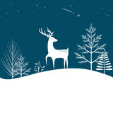Christmas forest background. With deer and falling star Royalty Free Stock Photography