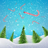 Christmas Forest with falling xmas candy canes,. Snowfall and drifts. Vector illustration concept for your artwork, posters, flyers, greeting cards royalty free illustration