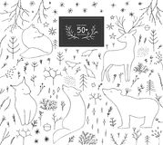 Christmas forest hand drawn elements. Vector outline illustration set Stock Image